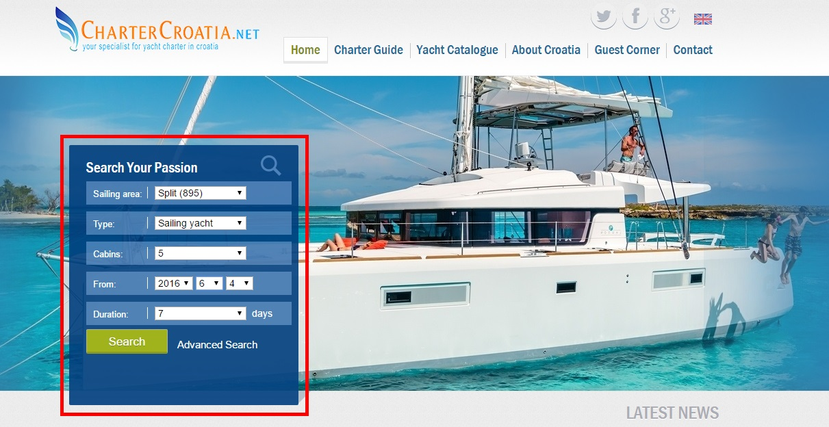 yacht charter croatia search