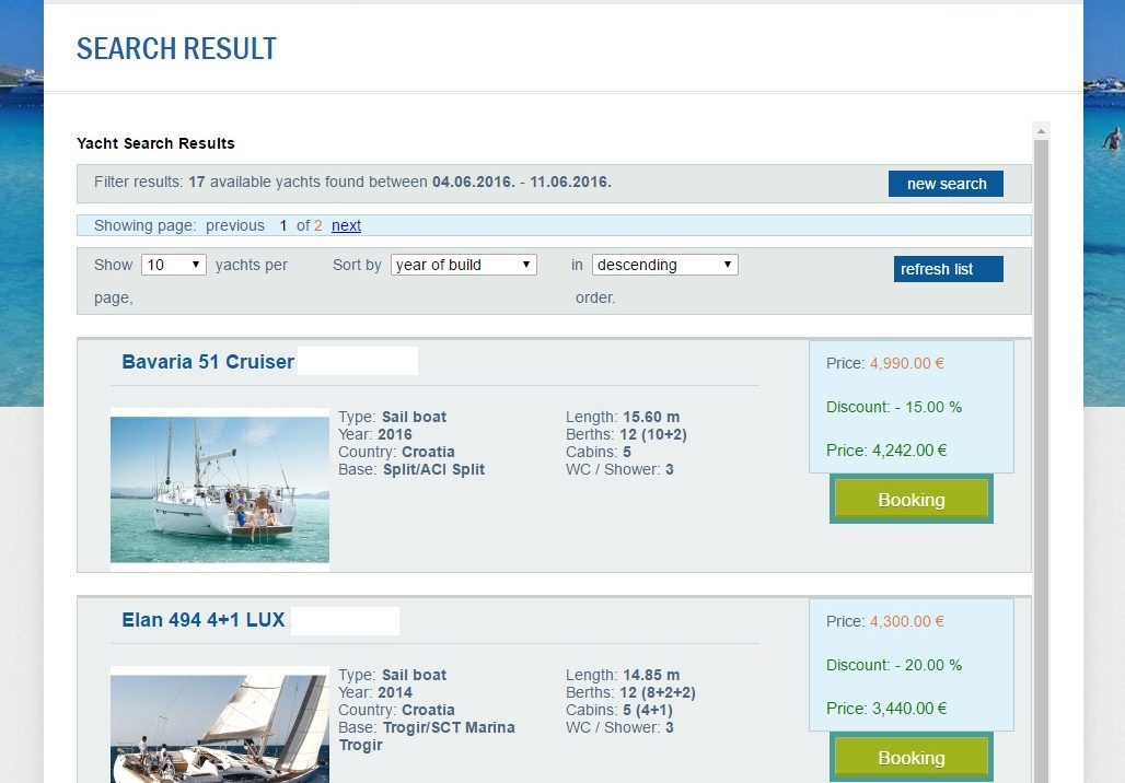 yacht charter croatia search results